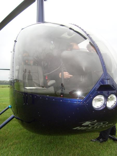 Close-up van de helicopter.