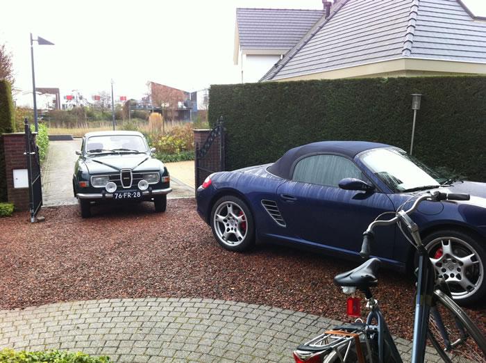 Met de Saab 95 op klantenbezoek in Vlissingen.